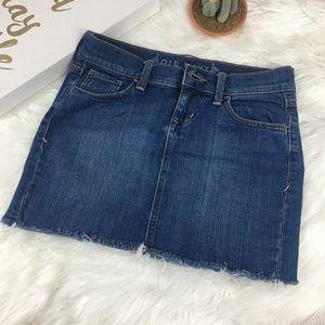 Old Navy Raw Hem Jeans Skirt Size 0 98% Cotton